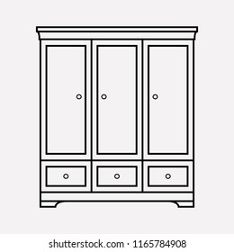 Cupboard icon line element. Vector illustration of cupboard icon line isolated on clean background for your web mobile app logo design.
