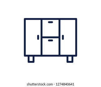 cupboard line icon illustration vector , cupboard line icon illustration design