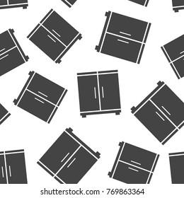 Cupboard seamless pattern background. Business flat vector illustration. Cupboard furniture sign symbol pattern.