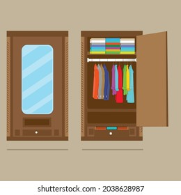 The cupboard vector with the traditional carved objects and natural colors. 2 point of views is open and close. It look inside and out. The neatly folded clothes and hanging