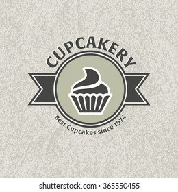 Cupcake bakery logo template. Two-tone version of cupcake vector icon on white and black background. Small cake designed to serve one person.