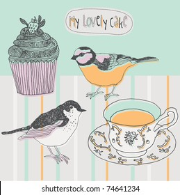 cupcake and birds background