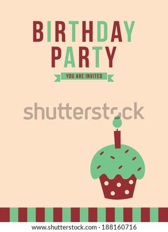 cupcake birthday party invitation card stock vector royalty free