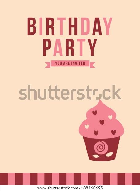 Cupcake Birthday Party Invitation Card Stock Vector (Royalty Free ...