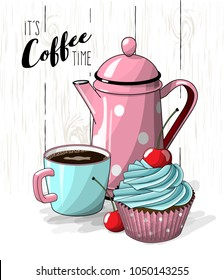 Cupcake with blue cream and cherry, cup of coffee and pink tea pot on simple white wooden texture, vector illustration, eps 10 with transparency