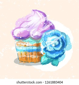 Cupcake with a blue flower, vector illustration in a hand drawn style. Bakery illustration.