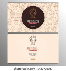 Cupcake or Cake business card template for Bakery or Pastry