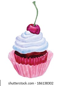 Cupcake with cherry and cream.Hand drawn watercolor painting on white background, vector illustration.