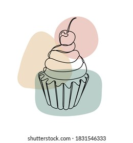 Cupcake with a cherry in a hand drawn linear style with colorful abstract stains. Isolated on white.