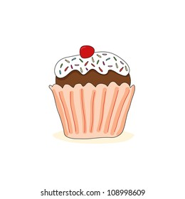 Cupcake with cherry. Vector illustration.