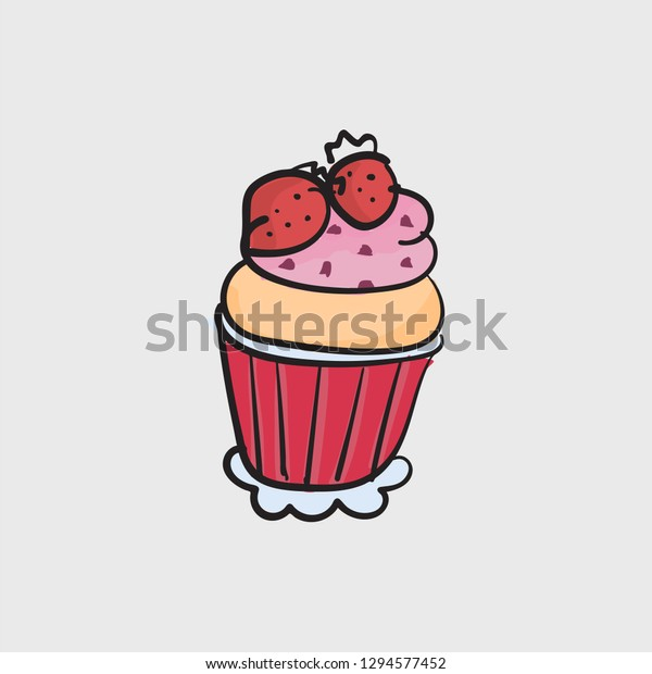 Cupcake Concept Line Icon Simple Element Stock Vector