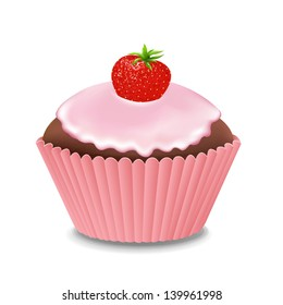 Cupcake With Cream And Strawberry With Gradient Mesh, Vector Illustration