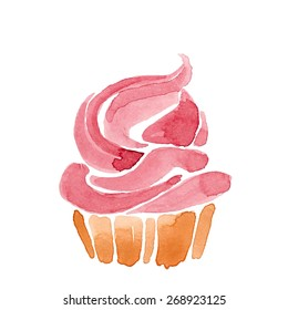 cupcake with cream. watercolor illustration