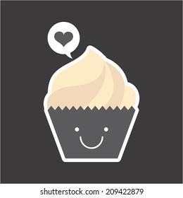 cupcake design over gray background vector illustration