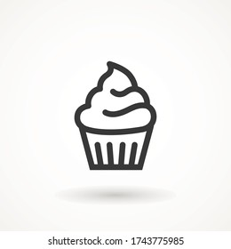 cupcake editable line stroke icon muffin vanilla cream illustration confectionery bakery pastry line icon sign logo on isolated background Sweet food symbol