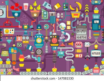 Cupcake factory seamless geometric pattern, infographics charts, symbols, graphic elements, illustrator vector