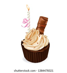 Cupcake, fairy cake. Cocolate muffin. 3d realistic vector
