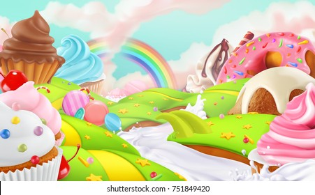 Cupcake, fairy cake. Sweet landscape, 3d vector background