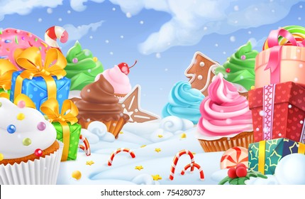 Cupcake, gift box. Winter sweet landscape. Christmas background. 3d vector illustration