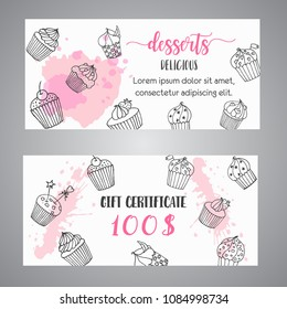 Gift certificate dessert images stock photos vectors shutterstock cupcake gift certificate with handdrawn cupcakes and pink splashes coupon with desserts promo banner yelopaper Images