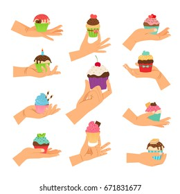 Cupcake gifts vector illustration. Hands holding pastry cupcakes decorated with cherry, chocolate and hearts isolated on white