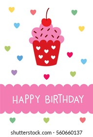 cupcake happy birthday greeting card vector. muffin happy birthday illustration card.