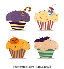 Cupcake happy halloween scary sweets. Halloween vector cupcakes. Trick or treat halloween cupcakes dessert food pumpkin party.