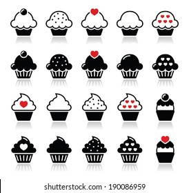 Cupcake with heart, cherry and sparkles icons set