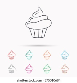 Cupcake icon. Dessert cake sign. Delicious bakery food symbol. Linear icons on white background.