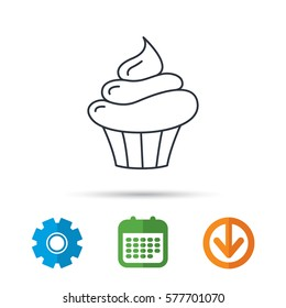 Cupcake icon. Dessert cake sign. Delicious bakery food symbol. Calendar, cogwheel and download arrow signs. Colored flat web icons. Vector