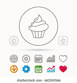 Cupcake icon. Dessert cake sign. Delicious bakery food symbol. Calendar, Graph chart and Cogwheel signs. Download and Heart love linear web icons. Vector