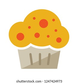 cupcake icon. Flat illustration of sweet muffin. birthday cake isolated on white background