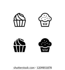 Cupcake Icon Logo Vector Symbol. Muffin Icon