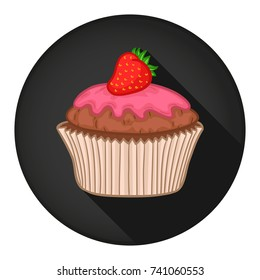 Cupcake Icon Round Flat Vector Art Design Color Illustration