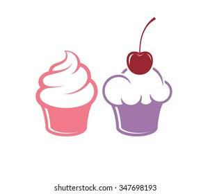 Cupcake. Icon set. Vector illustration