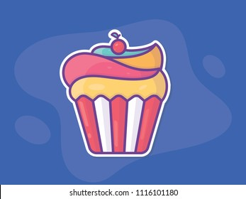 Cupcake Icon, symbol, sign, logo Isolated. Template on Blue background. Flat style graphic design. Can be used as banner, poster, label, sticker, ads in candy, bakery store or market. Vector EPS10