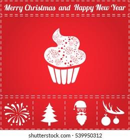 Cupcake Icon Vector. And bonus symbol for New Year - Santa Claus, Christmas Tree, Firework, Balls on deer antlers