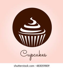 Cupcake icon vector. Stylized silhouette drawings. Bakery design logo. Sweets shop symbol template.