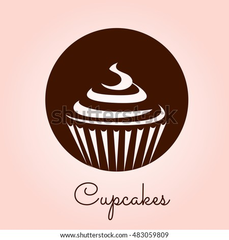 Cupcake Icon Vector Stylized Silhouette Drawings Image Vectorielle