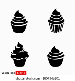 Cupcake icons. Dessert baking black and white signs. Bakery food silhouette, birthday cake muffin. Vector illustration