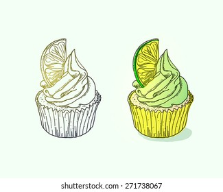 Cupcake with lime on light background