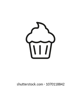 Cupcake line icon. Bakery, cake, muffin. Food concept. Can be used for topics like dessert, menu, coffee shop.