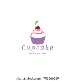 Cupcake. Logo. Abstract cupcake with cherry on white background. Sweet food. Vector illustration EPS10