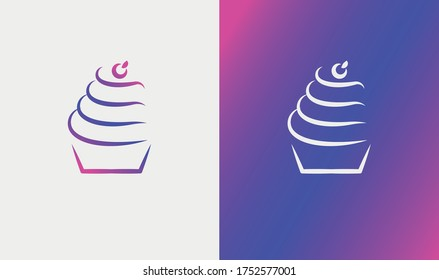 Cupcake logo design line style, in pink and purple gradient. Vector logo element for business in the fields of bakeries, sweets and pastries.