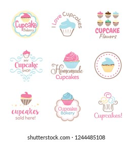 Cupcake Logo Icon Banner Design Set