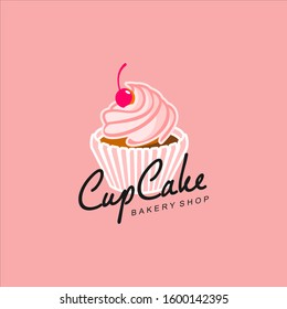 Cupcake Logo Modern Pink Bakery Template. Pastry Icon Design Inspiration. Sweet Food Vector Sticker Idea