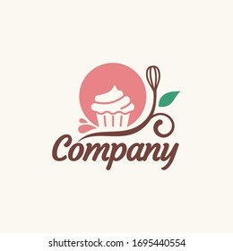 cupcake logo vector grapic with floral element, best for bakery business.