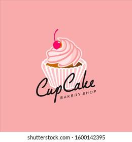 Cupcake Logo Vector Pink Bakery Illustration, Pastry Icon Design Inspiration Sweet Food Sticker Idea