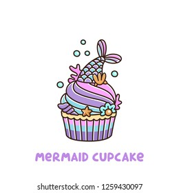 Cupcake with mermaid tail, with pearl, shell, coral, starfish, on a white background. It can be used for sticker, patch, phone case, poster, t-shirt, mug and other design.