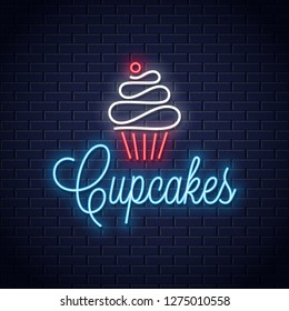 cupcake neon logo on wall vector background